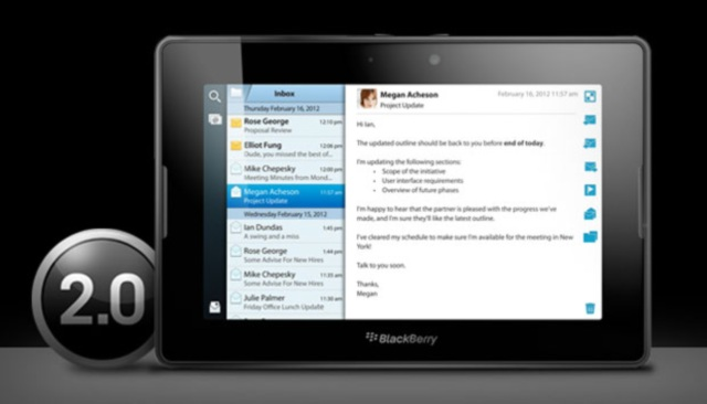 Доступна BlackBerry PlayBook OS 2.0