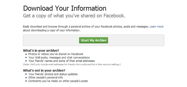 Facebook обновил функцию Download Your Information