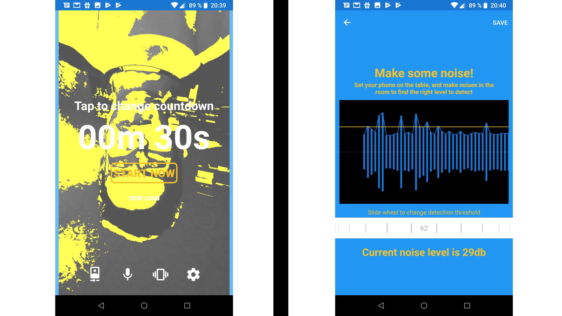 Скриншоты экранов записи звука и фотографирования в приложении Эдварда Сноудена Haven: Keep Watch