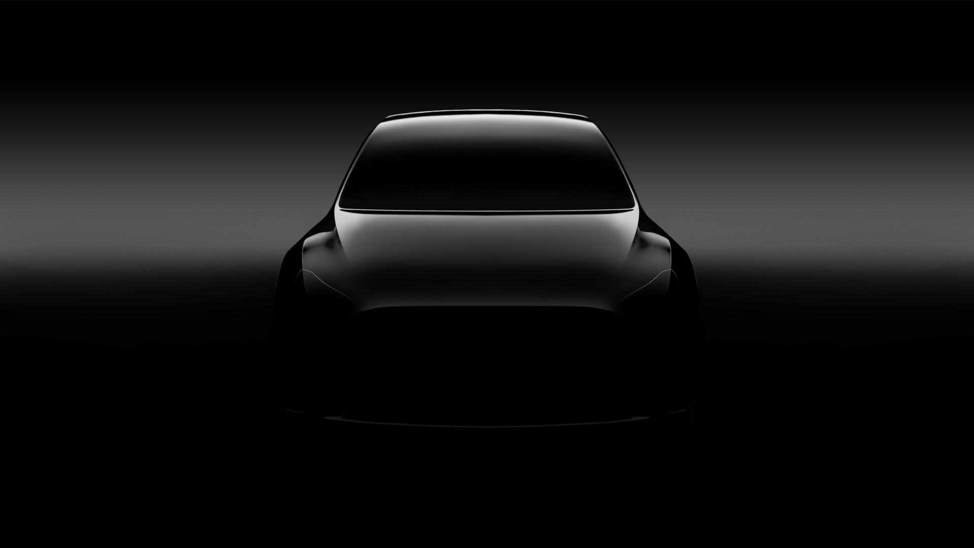 Общие очертания электромобиля Tesla Model Y