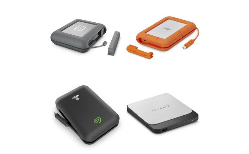 Коллаж фотографий накопителей LaCie DJI Copilot, LaCie Rugged Secure, Seagate Fast SSD и Seagate Joy Drive