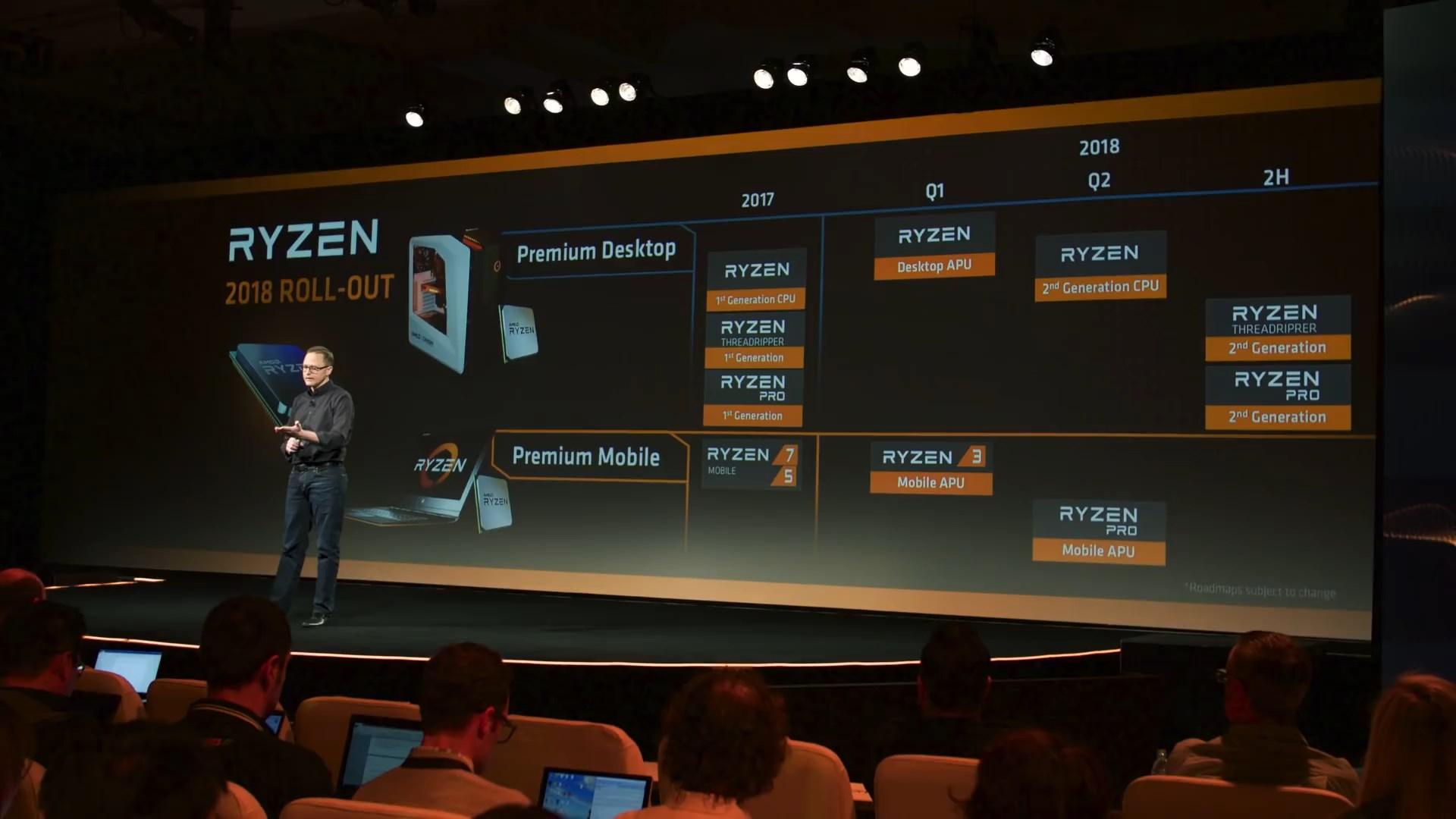 Фотография с презентации новых процессоров Ryzen: старший вице-президент AMD Джим Андерсон (Jim Anderson) на фоне слайда с планами компании