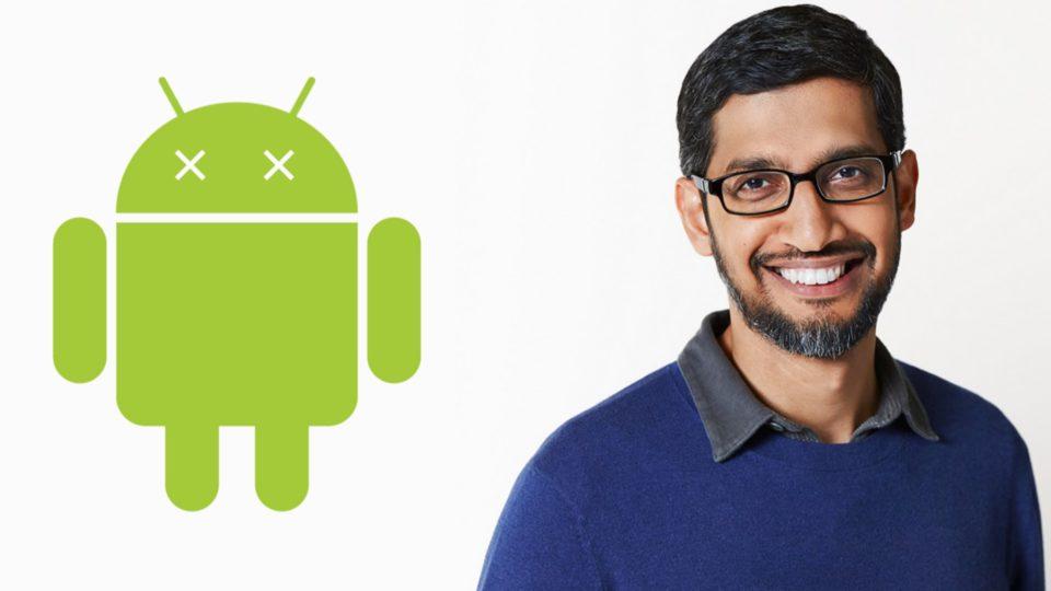 На иллюстрации Сундарараджан Пичаи и логотип операционной системы Android