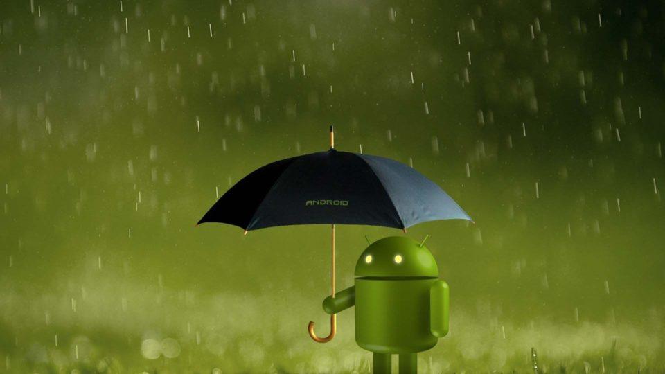 На иллюстрации обновления Android на безопасности на июль 2018 года изображён андроид под зонтиком
