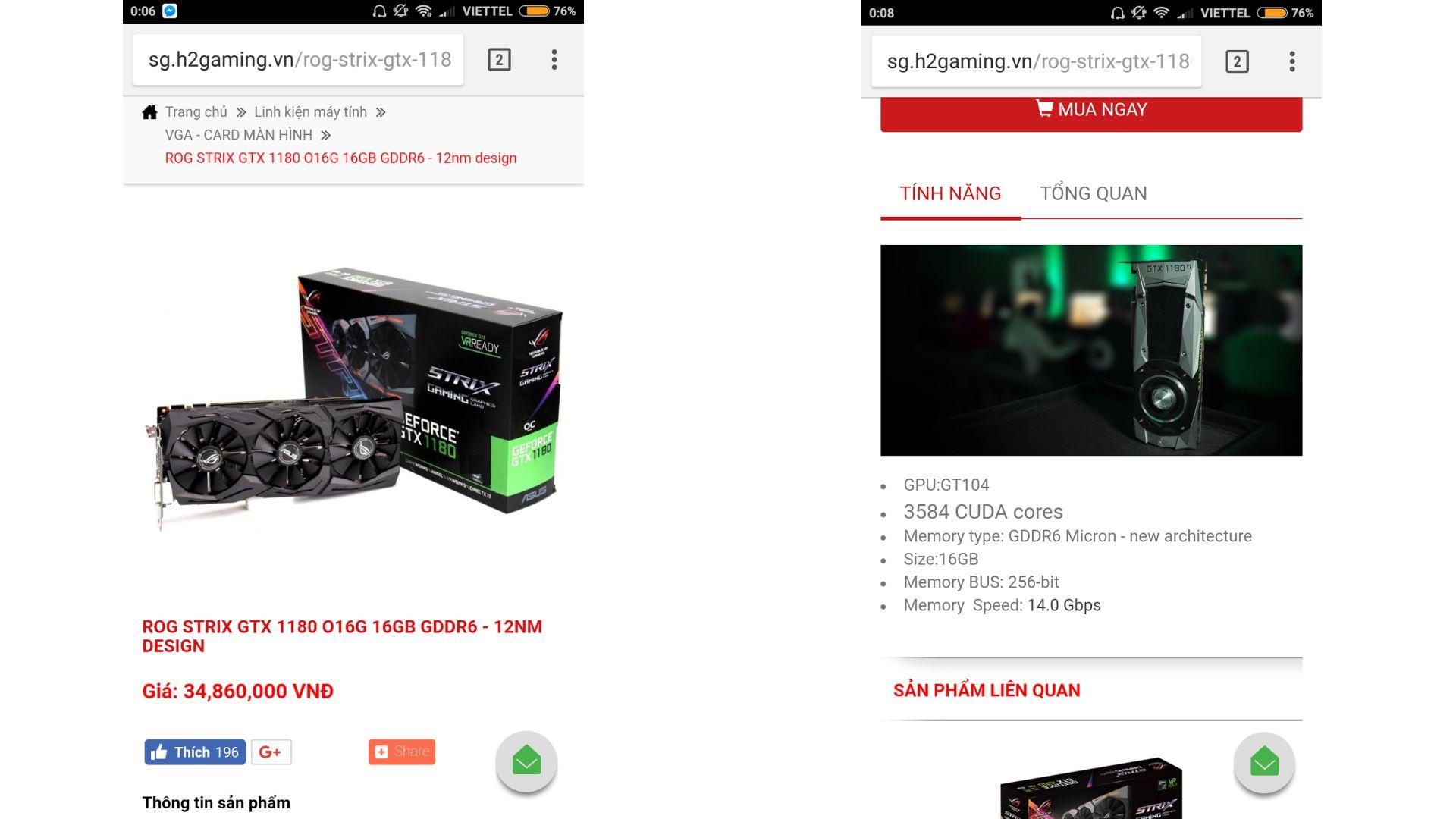 Два снимка экрана смартфона с якобы правдивой ценой и характеристиками GTX 1180 Ti