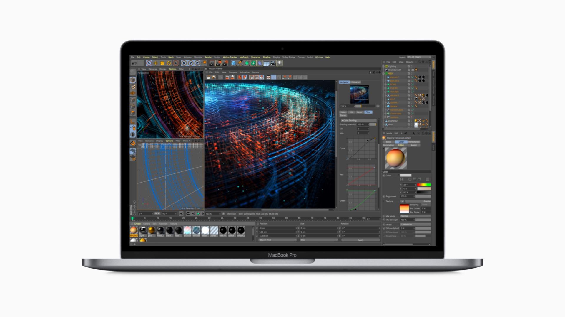 Изображение включённого MacBook Pro 2018 во фронтальной проекции: на экране 3D–модель