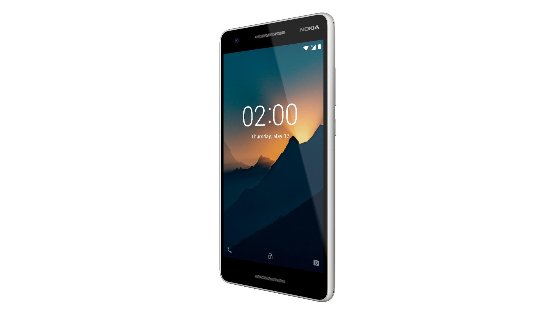 Изображение рендера телефона Nokia 3.1 в корпусе серого цвета в развороте
