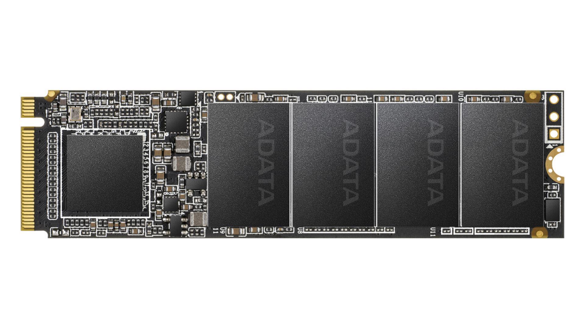 На иллюстрации изображён рендер SSD–накопителя ADATA с интерфейсом PCI Express с видом сверху