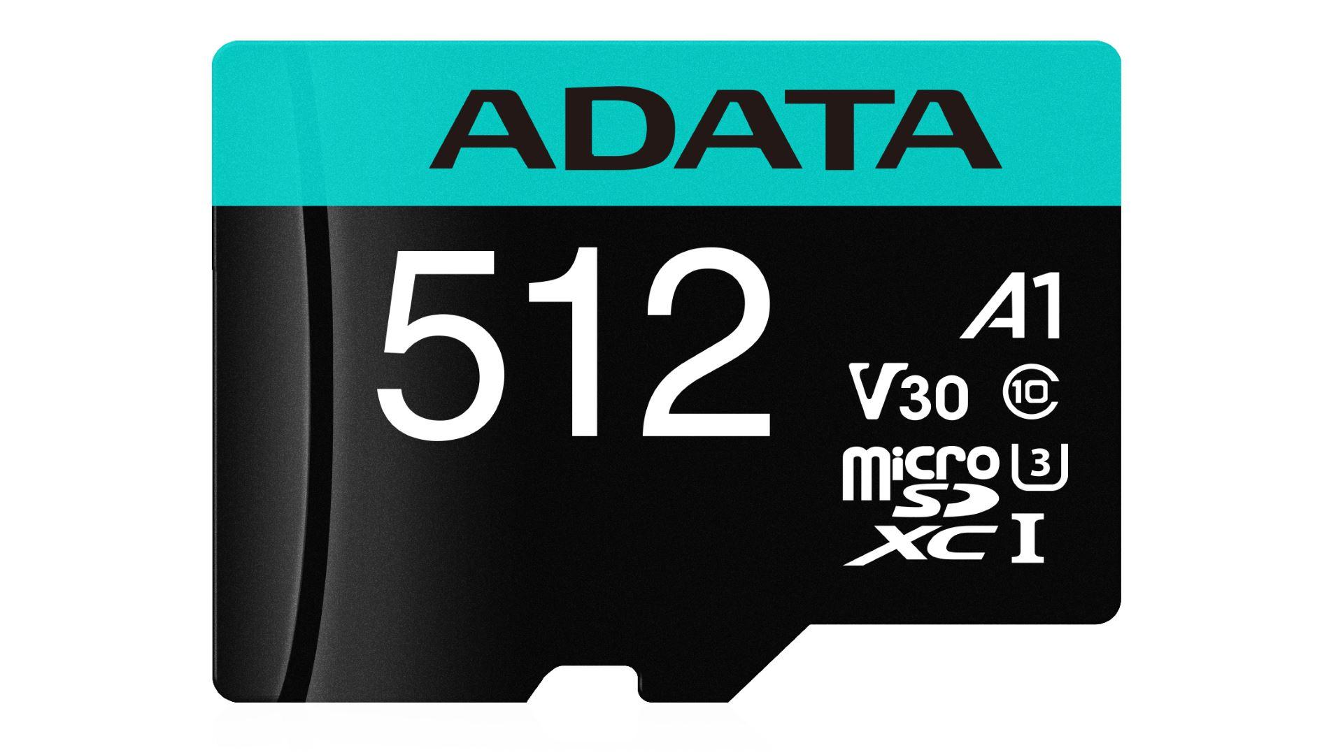 На иллюстрации изображён рендер карты памяти стандартаmicroSDXC от ADATA с видом сверху