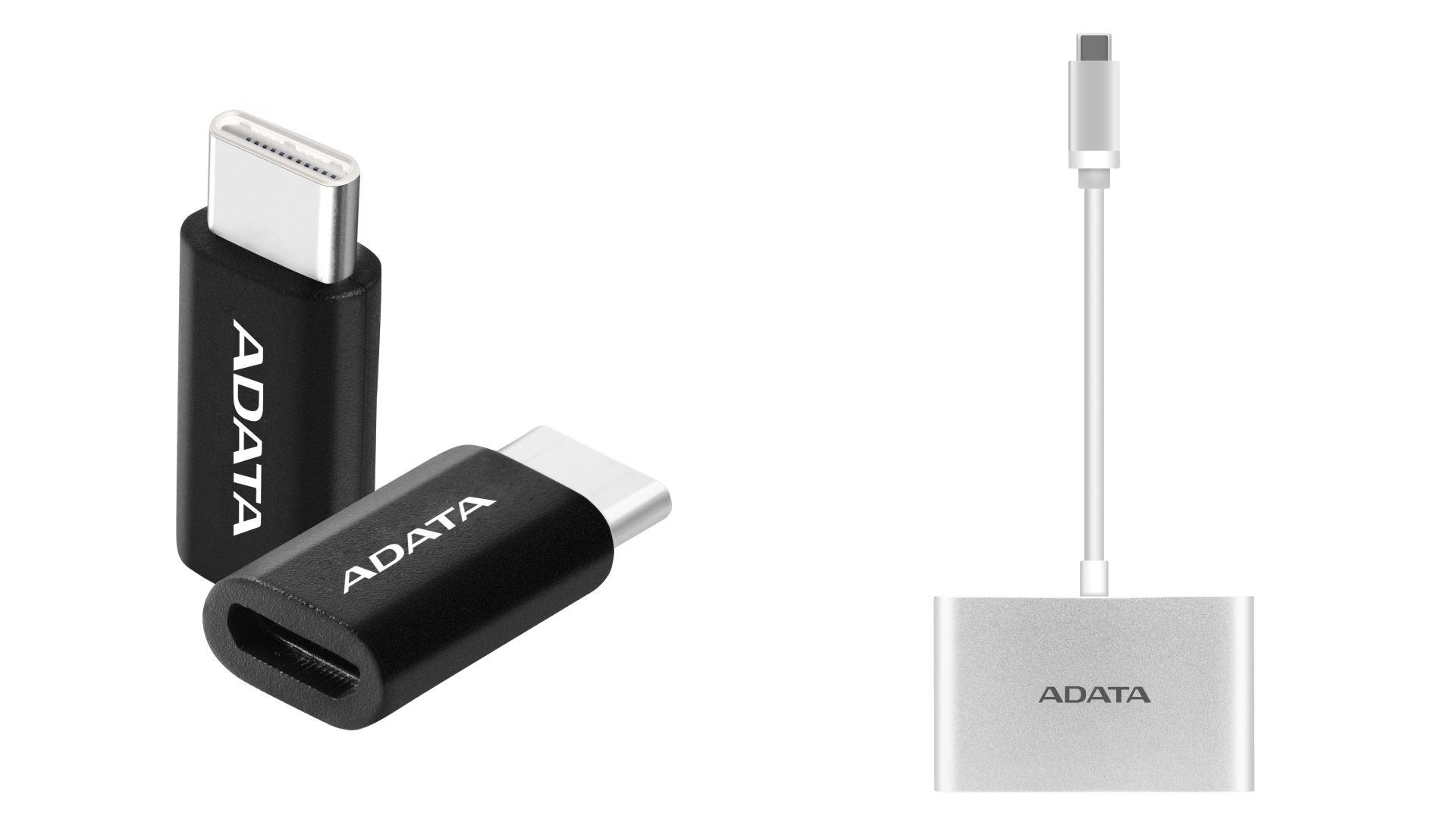 На изображении рендеры переходника с MicroUSB на USB–C и хаба USB–C из новой линейки ADATA