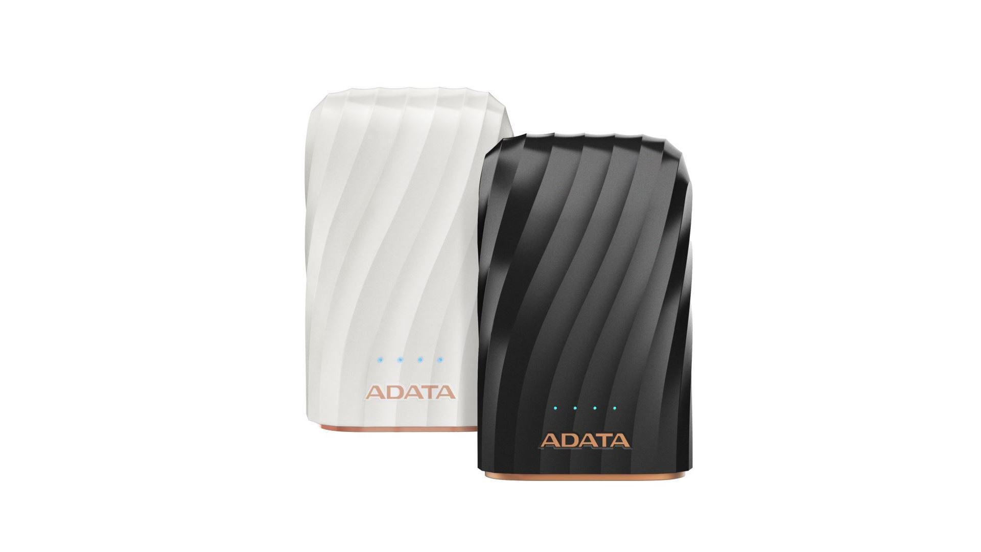 На иллюстрации изображены рендеры аккумулятора ADATA P10050C белого и чёрного цветов с видом сверху
