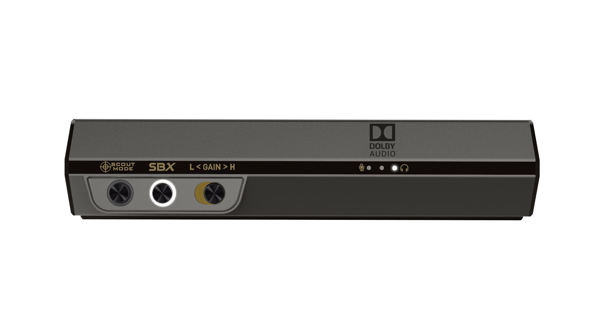 На иллюстрации изображён рендер внешней звуковой карты Creative Sound BlasterX G6 с видом спереди