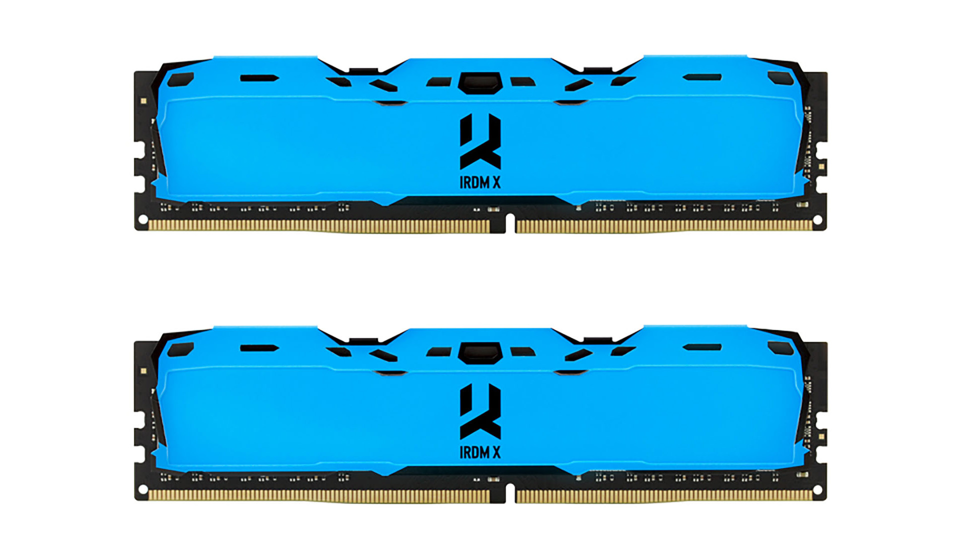 На иллюстрации показаны модули оперативной памяти GoodRAM IRDM X с радиаторами красного и синего цветов