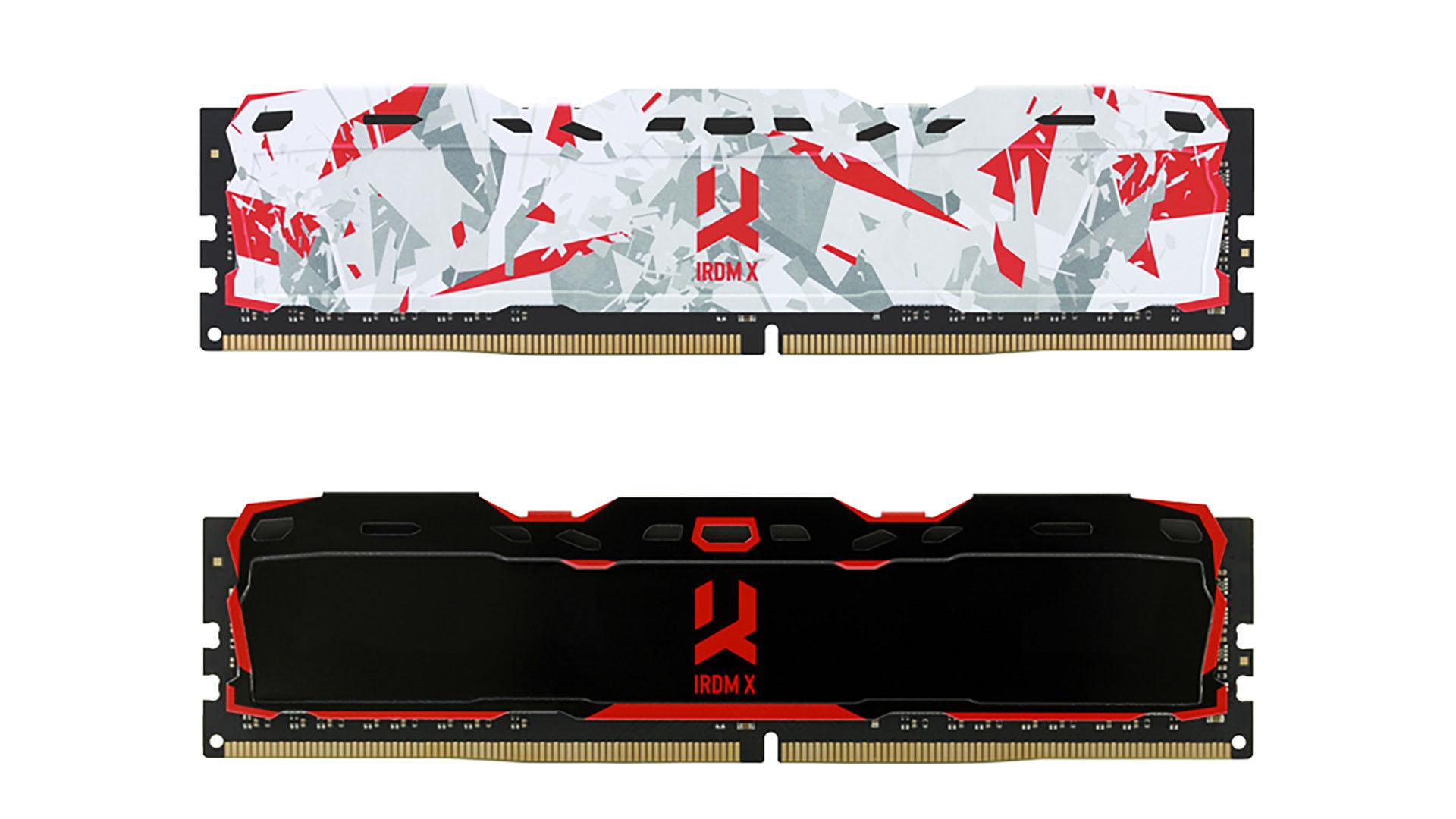 На иллюстрации отображён рендер модуля оперативной памяти GoodRAM IRDM X с разноцветным радиатором и радиатором чёрного цвета