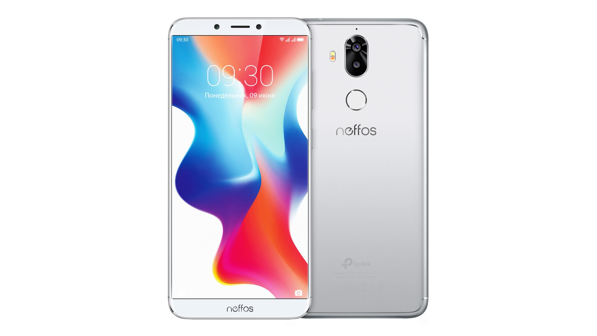 На иллюстрации изображены рендеры смартфона Neffos X9 серебристо–лунного цвета спереди и сзади