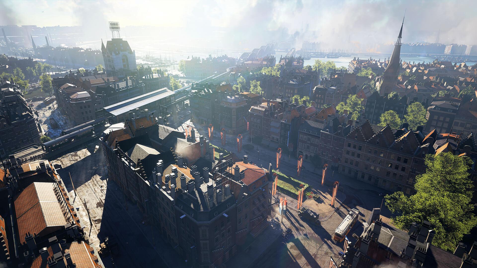На иллюстрации снимок экрана из игры Battlefield V — изображена городская карта игры с видом сверху