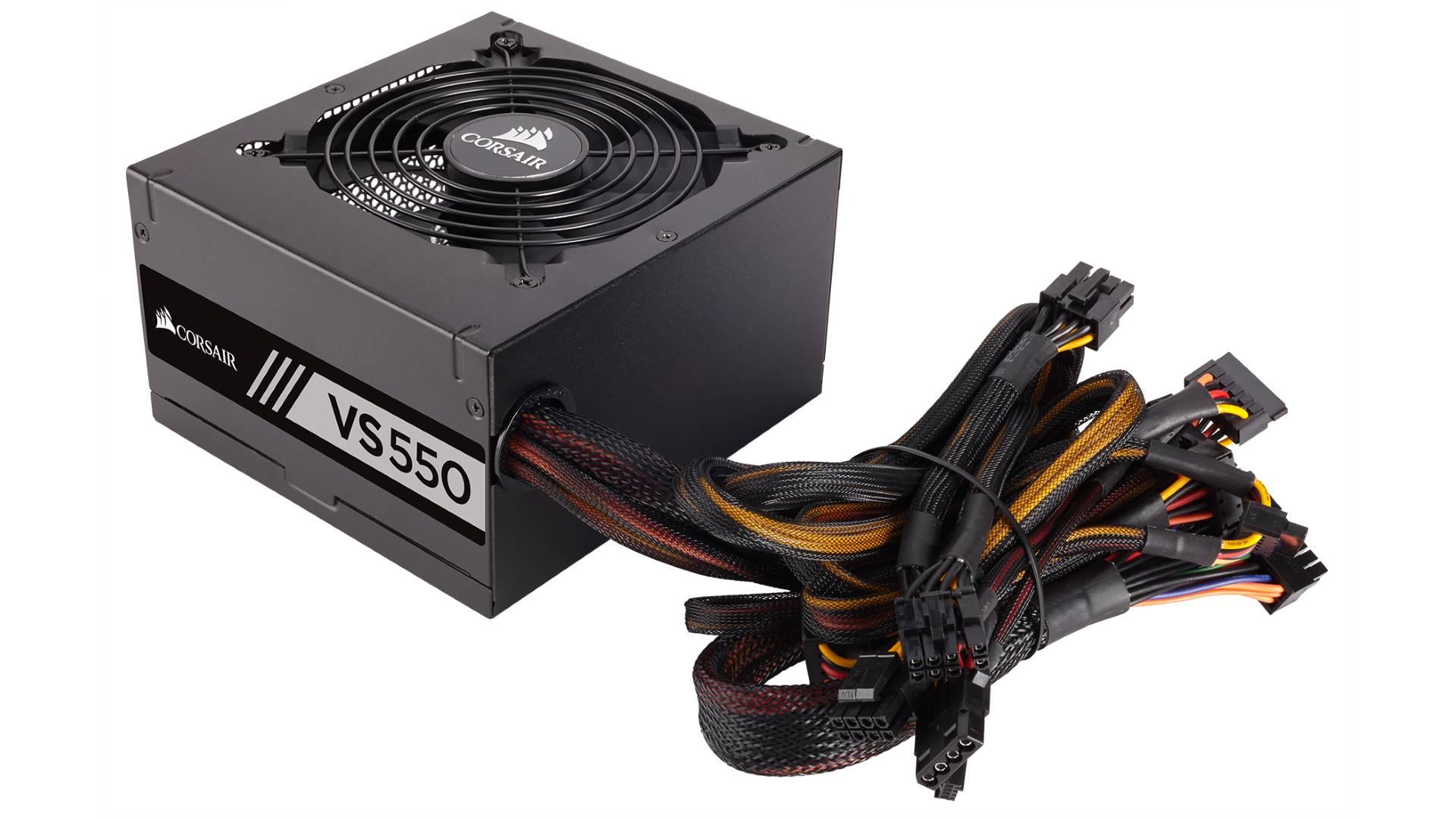 На иллюстрации изображён блок питания компьютера Corsair VS550 под углом