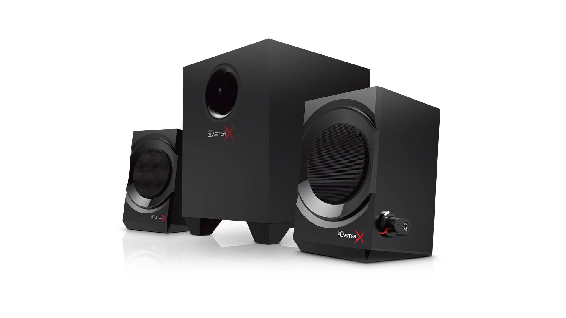 На иллюстрации изображена акустическая система Creative Sound BlasterX Kratos S3 под углом
