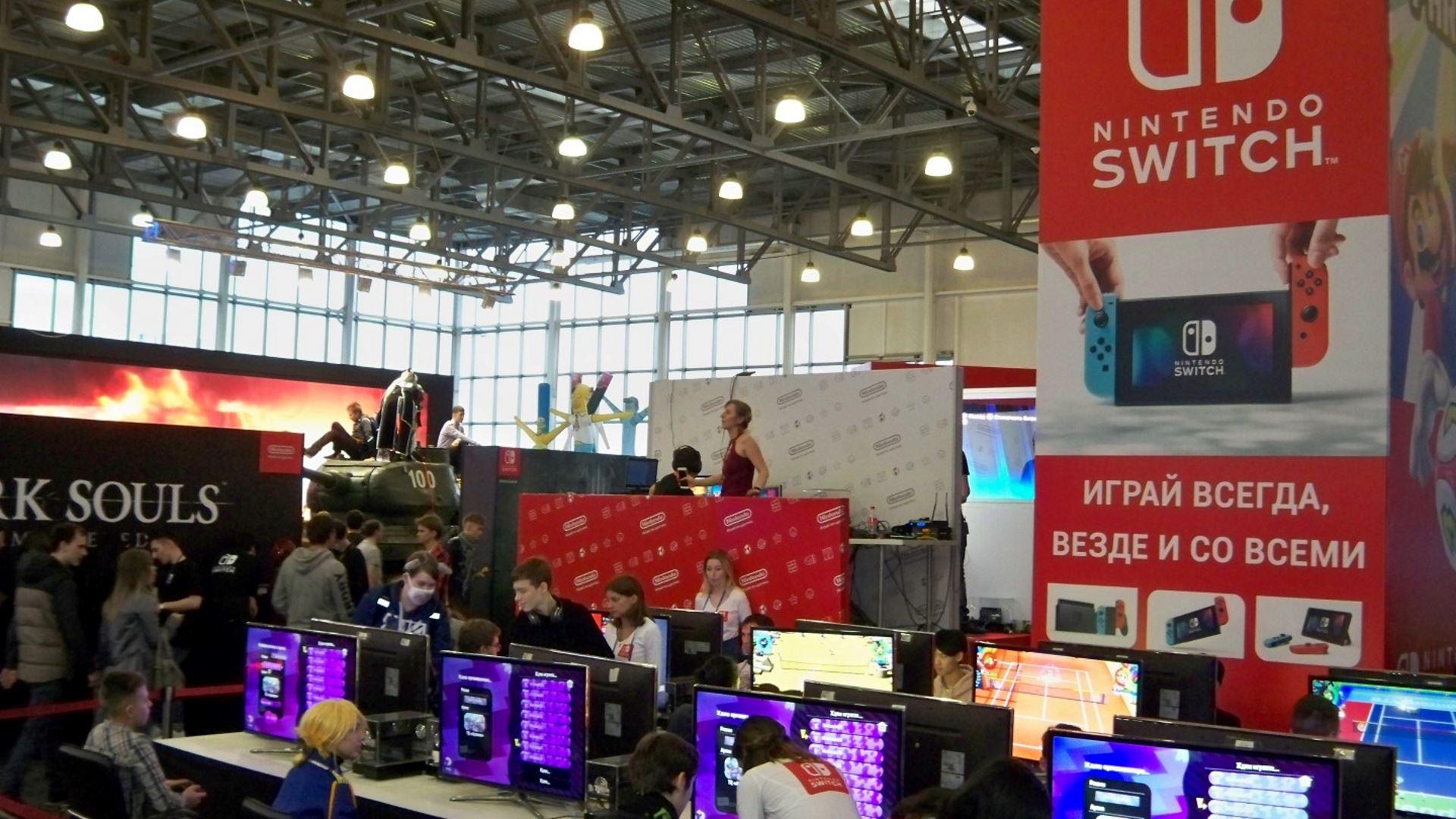 На иллюстрации изображён стенд компании Nintendo на выставке «ИгроМир 2018»