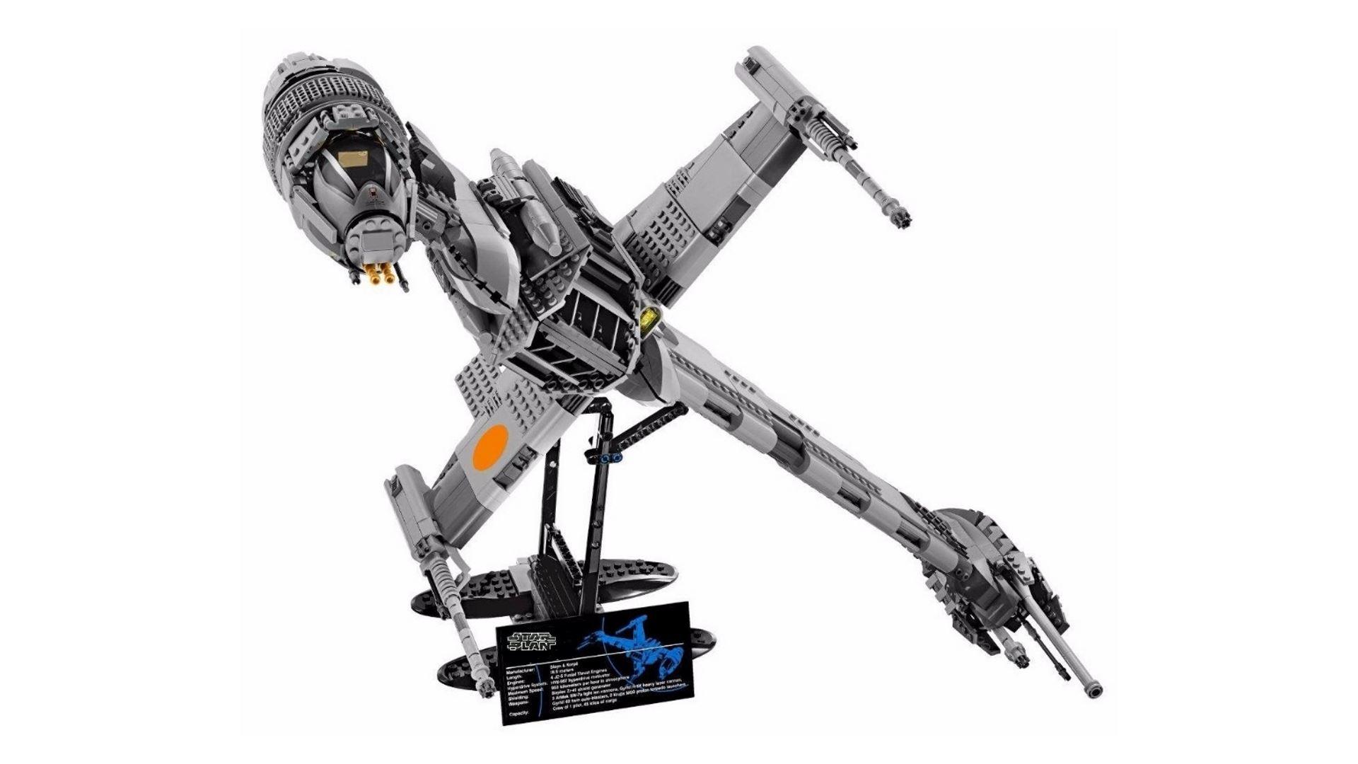 На иллюстрации изображена сборная модель конструктора «Истребитель B-Wing» из линейки Lepin Star Plan