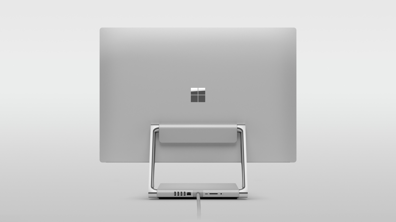 На иллюстрации изображён моноблок Surface Studio 2 в разложенном положении с видом сзади