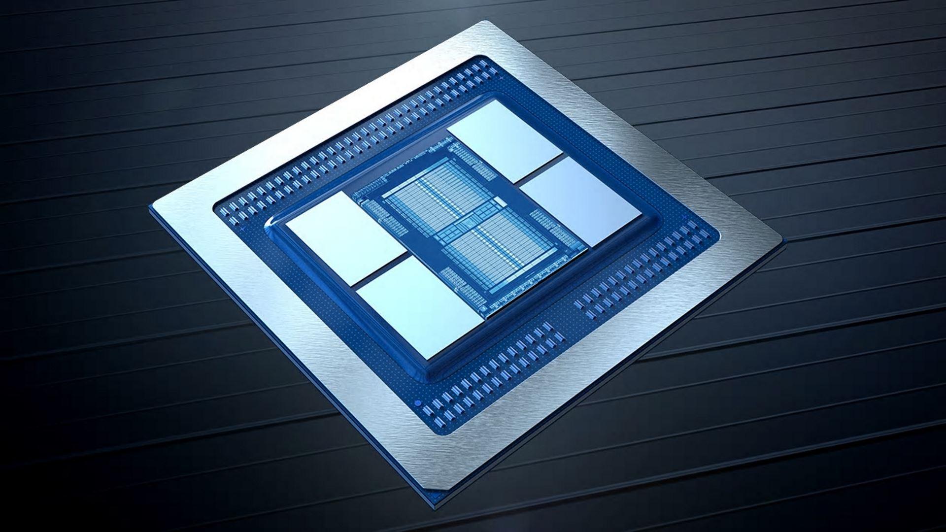 На иллюстрации изображён рендер графического чипа на 7-нм архитектуре Vega с видом сбоку