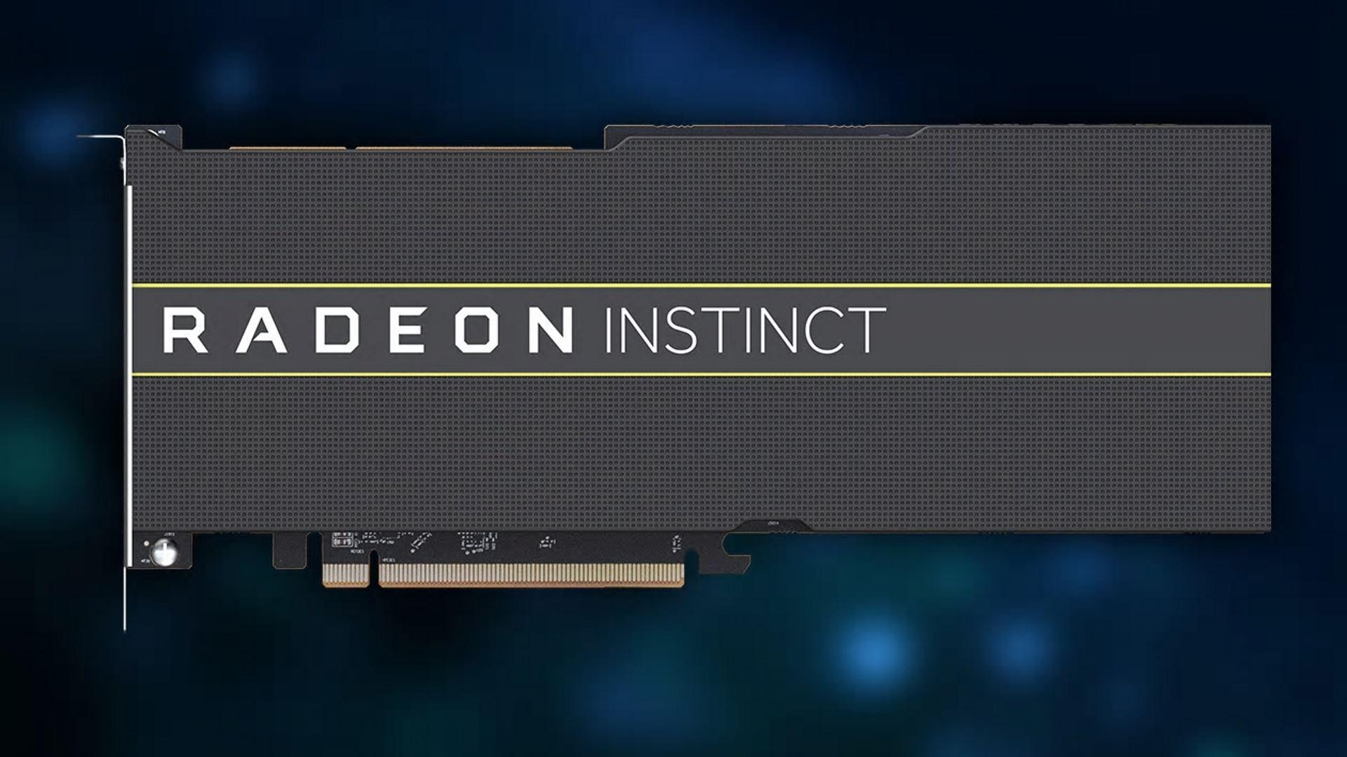 На иллюстрации изображена видеокарта Radeon Instinct с видом спереди
