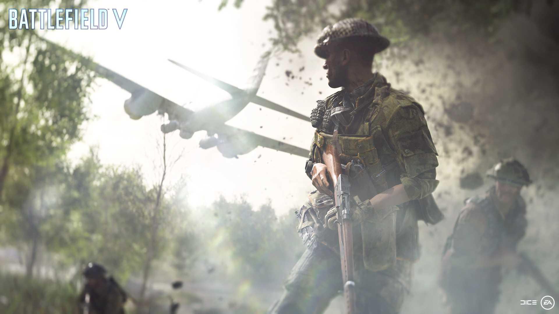 На иллюстрации изображена сцена из игры Battlefield V: солдат стоит с винтовкой на фоне пролетающего бомбардировщика