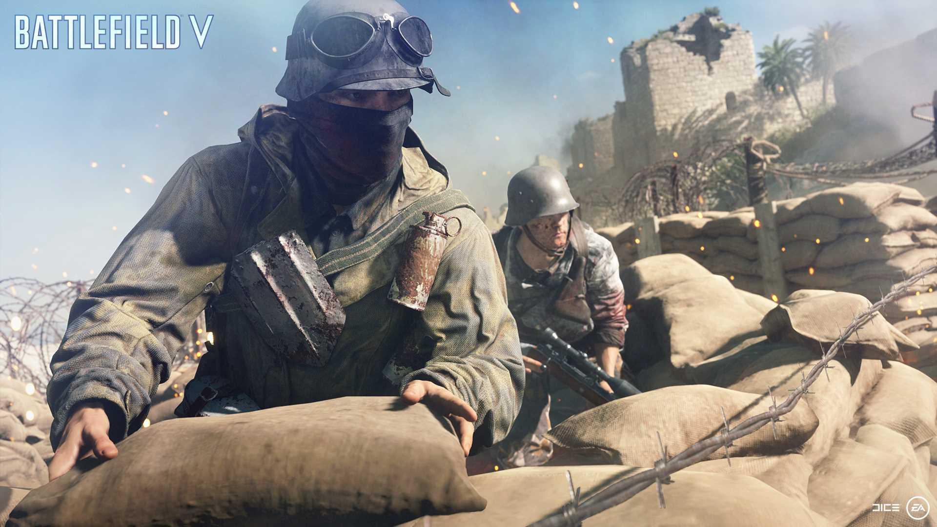 На иллюстрации изображена сцена из игры Battlefield V: боец поддержки устанавливает укрепления на карте в Северной Африки