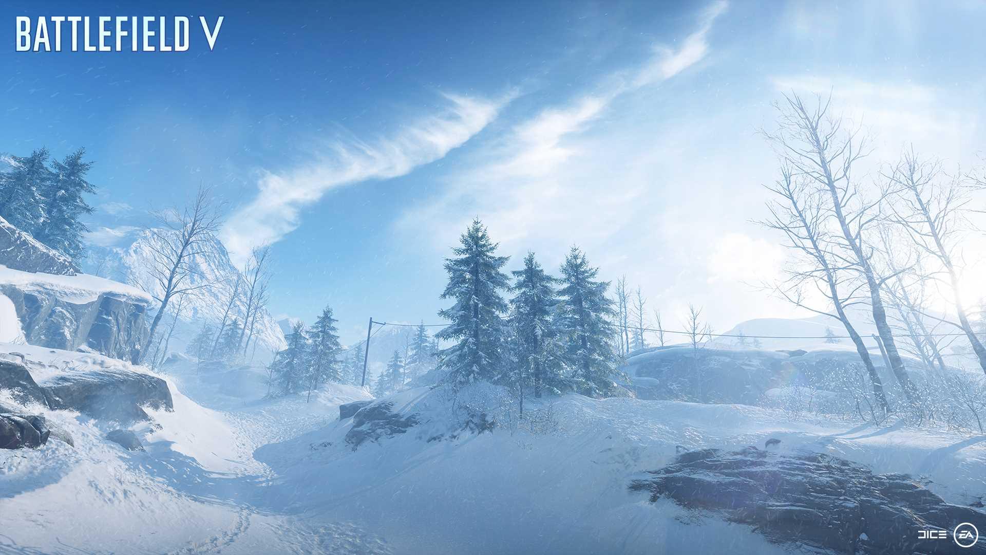 На иллюстрации изображена карта из игры Battlefield V: заснеженные овраги и холмы норвежского побережья города Нарвик