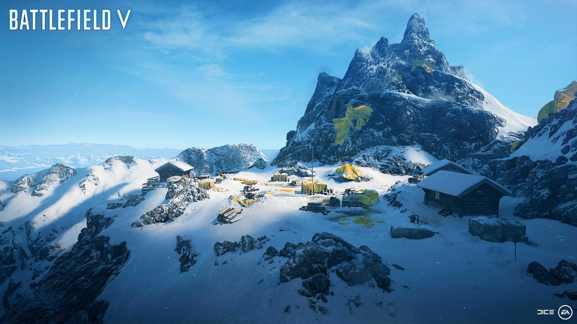 На иллюстрации изображена карта из игры Battlefield V: заснеженный пик горы «Кряж 652»
