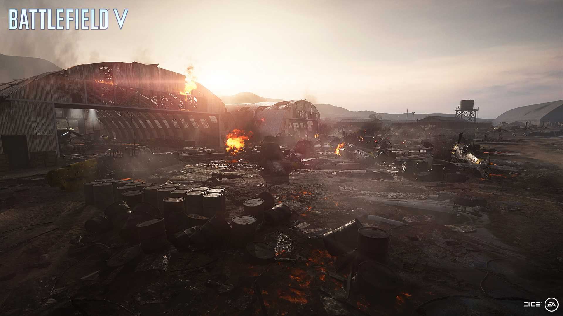 На иллюстрации изображена карта из игры Battlefield V: битва идёт за овраги и немецкие аэродромы в Северной Африке