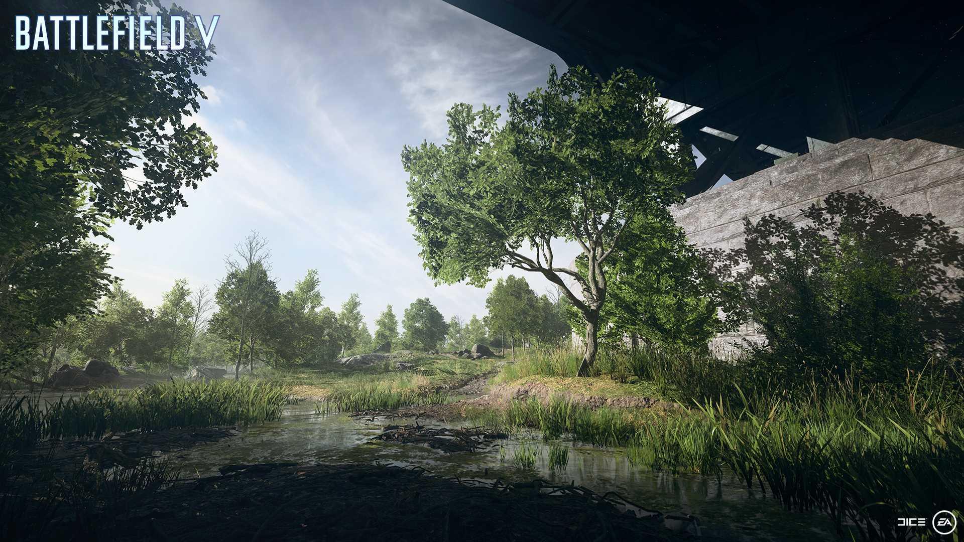 На иллюстрации изображена карта из игры Battlefield V: на карте «Искореженная сталь» расположен огромный мост,  разрушенный в ходе немецкого наступления на Францию