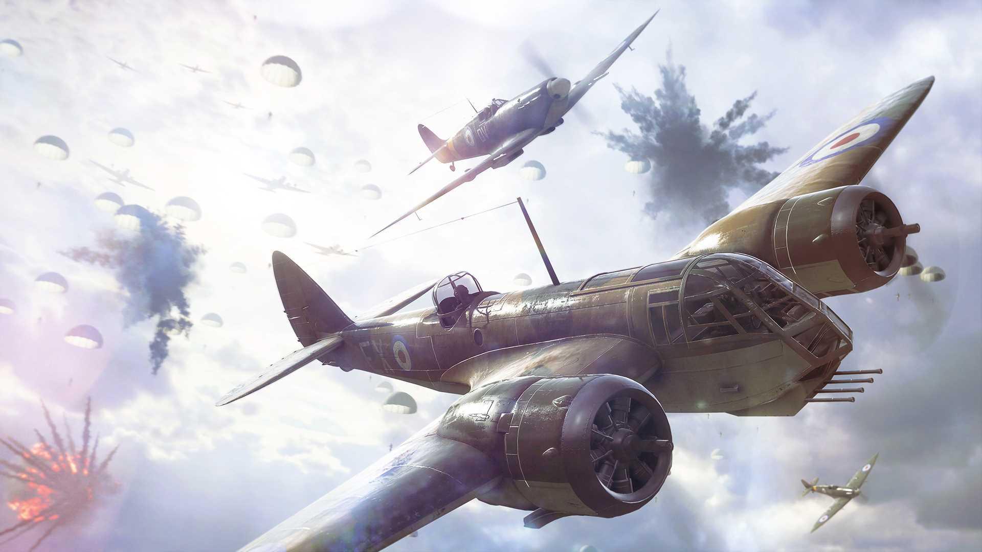 На иллюстрации изображена сцена из игры Battlefield V: бомбардировщик в сопровождении истребителя пролетает над под огнём зенитных орудий на фоне парашютного десанта