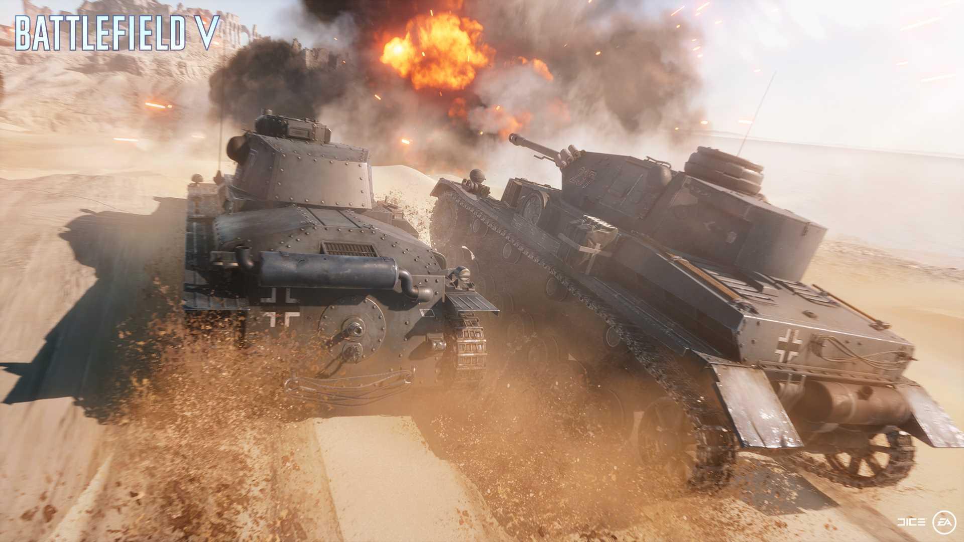 На иллюстрации изображена сцена из игры Battlefield V: лёгкий и средний немецкий танки едут по пескам Северной Африки