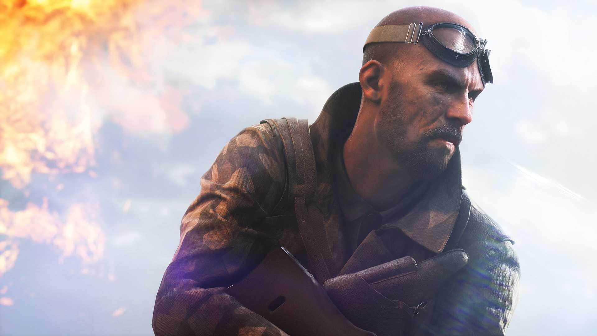 На иллюстрации изображена сцена из игры Battlefield V: боец в видоизменённой игроком форме готовится к атаке