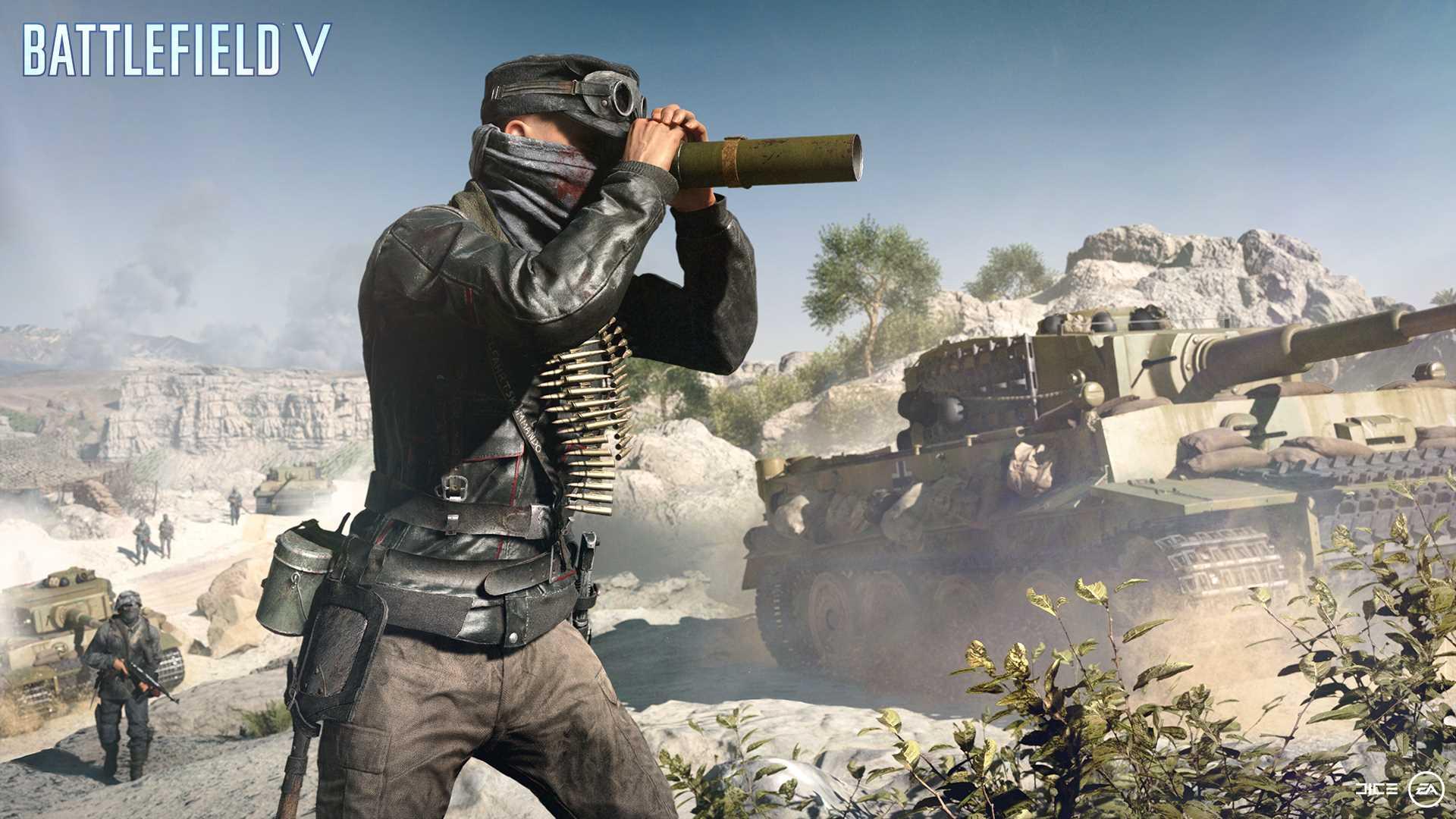 На иллюстрации изображена сцена из игры Battlefield V: разведчик изучает поле боя и помечает противников для своей команды на фоне танков и других членов команды