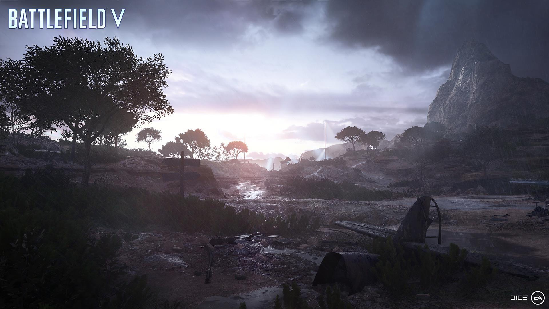 На иллюстрации изображён снимок экрана (скриншот) из одиночной кампании Battlefield V из «военной истории» под названием «Без знамён»