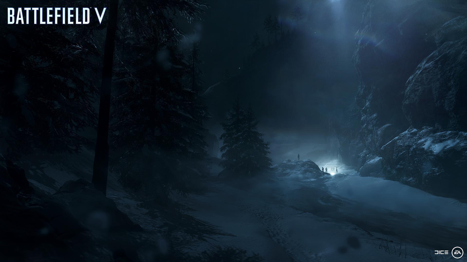 На иллюстрации изображён снимок экрана (скриншот) из одиночной кампании Battlefield V из «военной истории» под названием «Аврора»