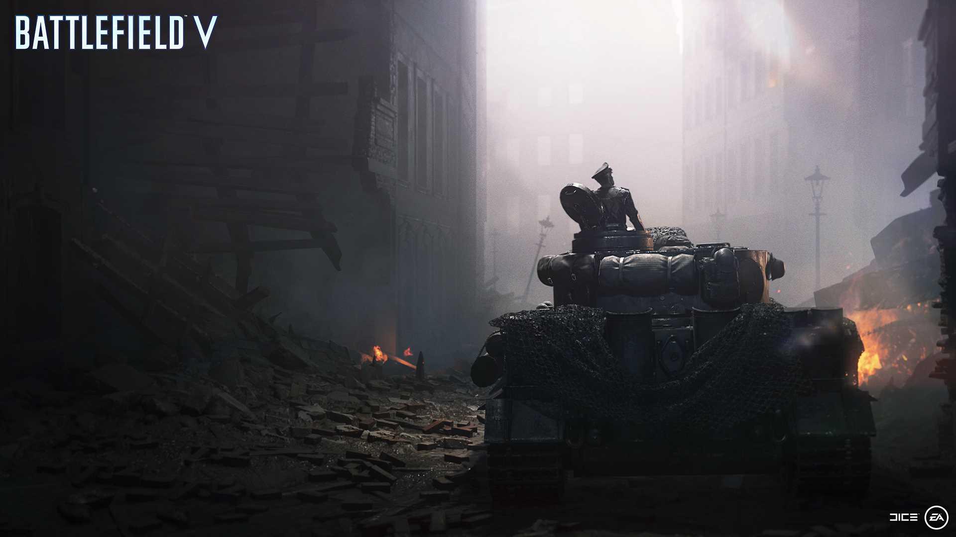 На иллюстрации изображён снимок экрана (скриншот) из одиночной кампании Battlefield V из «военной истории» под названием «Последний Тигр»