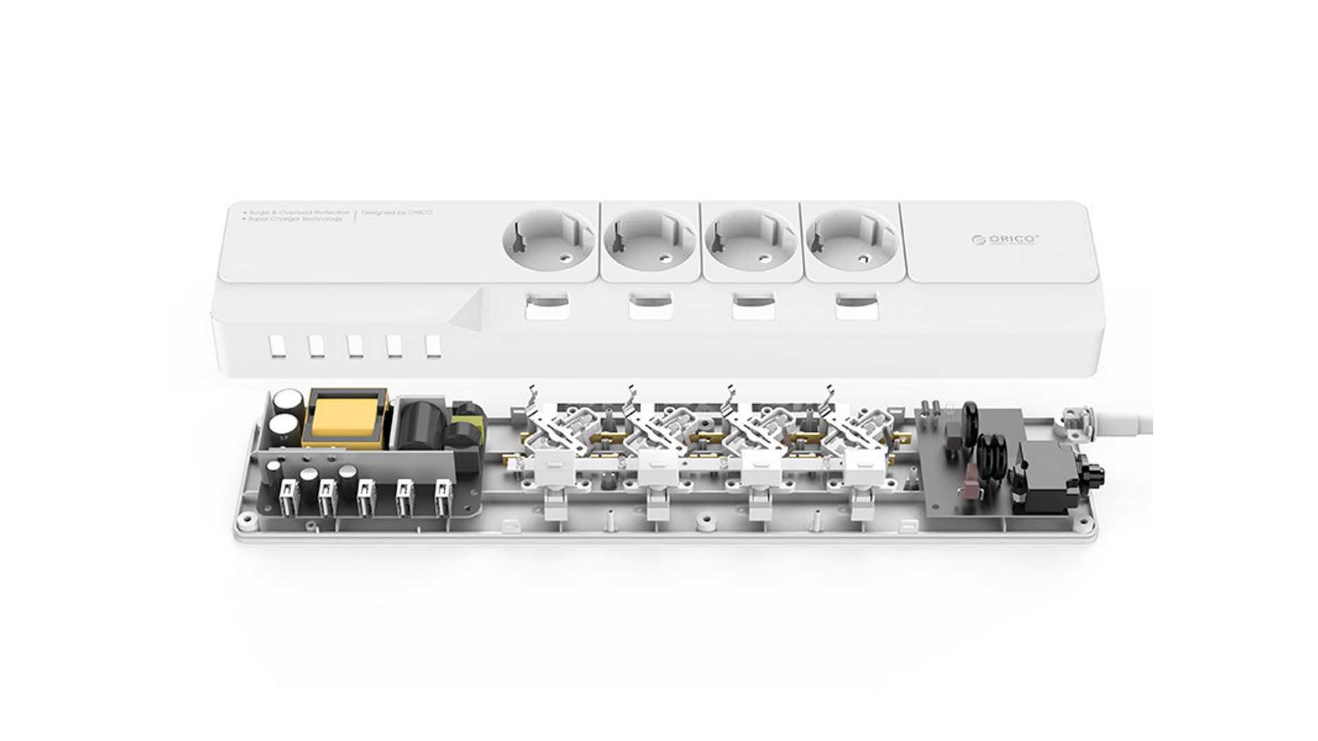 На иллюстрации изображён сетевой фильтр ORICO OSJ-4A5U-EU белого цвета в разборе